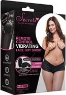 Vibrating Lace Boyshort W/remote Blk-plu